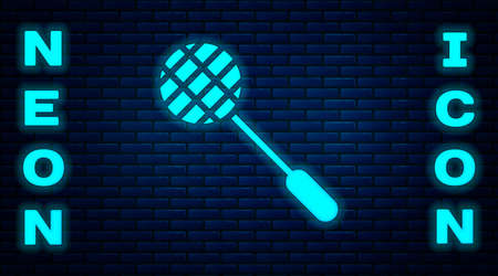 Glowing neon Tennis racket icon isolated on brick wall background. Sport equipment. Vector Illustration.