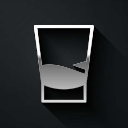 Silver Glass of vodka icon isolated on black background. Long shadow style. Vector Illustration.
