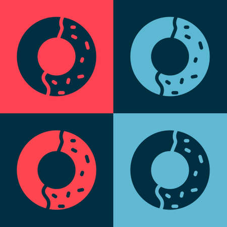Pop art Donut with sweet glaze icon isolated on color background. Vector Illustration.