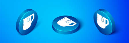 Isometric Cup of tea with tea bag icon isolated on blue background. Blue circle button. Vector Illustration