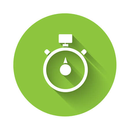 White Stopwatch icon isolated with long shadow. Time timer sign. Chronometer sign. Green circle button. Vector Illustration. Çizim