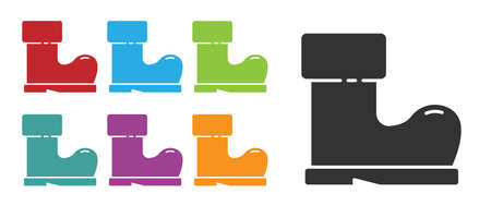 Black Waterproof rubber boot icon isolated on white background. Gumboots for rainy weather, fishing, gardening. Set icons colorful. Vector Illustration.