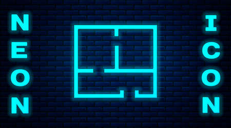 Glowing neon House plan icon isolated on brick wall background. Vector Illustration. Illustration