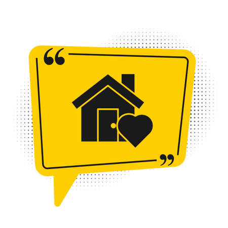 Black House with heart shape icon isolated on white background. Love home symbol. Family, real estate and realty. Yellow speech bubble symbol. Vector Illustration.