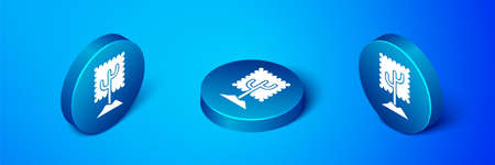 Isometric Tree icon isolated on blue background. Forest symbol. Blue circle button. Vector Illustration.