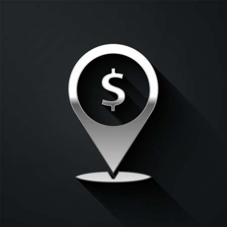 Silver Cash location pin icon isolated on black background. Pointer and dollar symbol. Money location. Business and investment concept. Long shadow style. Vector Illustration