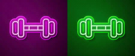 Glowing neon line Dumbbell icon isolated on purple and green background. Muscle lifting icon, fitness barbell, gym, sports equipment, exercise bumbbell. Vector Illustration 向量圖像