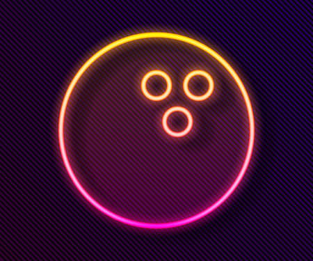 Glowing neon line Bowling ball icon isolated on black background. Sport equipment. Vector Illustration