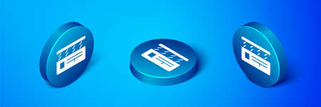 Isometric Movie clapper icon isolated on blue background. Film clapper board. Clapperboard sign. Cinema production or media industry. Blue circle button. Vector Illustration.