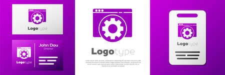 Logotype Browser setting icon isolated on white background. Adjusting, service, maintenance, repair, fixing. Logo