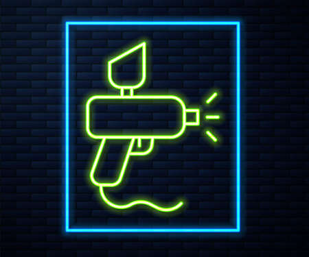 Glowing neon line Paint spray gun icon isolated on brick wall background. Vector Illustration