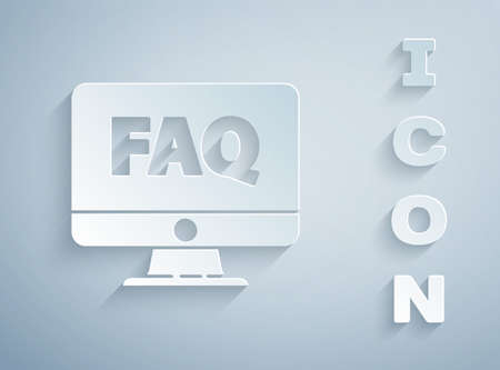 Paper cut Computer monitor and FAQ icon isolated on grey background. Adjusting, service, setting, maintenance, repair, fixing. Paper art style. Vector Illustration.