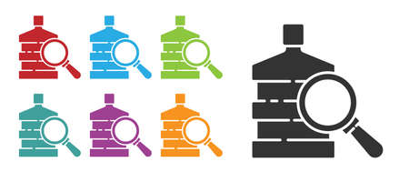 Black Big bottle with clean water and magnifying glass icon isolated on white background. Plastic container for the cooler. Set icons colorful. Vector Illustration. Çizim