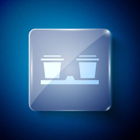 White Coffee cup to go icon isolated on blue background. Square glass panels. Vector Illustration.