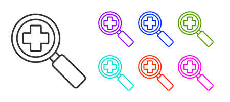 Black line Magnifying glass for search medical icon isolated on white background. Hospital search. Set icons colorful. Vector Illustration.