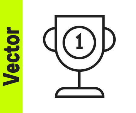 Black line Award cup icon isolated on white background. Winner trophy symbol. Championship or competition trophy. Sports achievement sign. Vector Illustration.