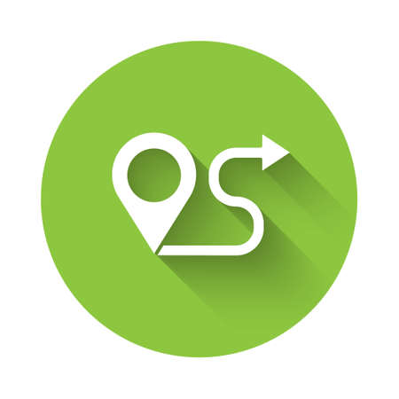 White Route location icon isolated with long shadow. Map pointer sign. Concept of path or road. GPS navigator. Green circle button. Vector Illustration.