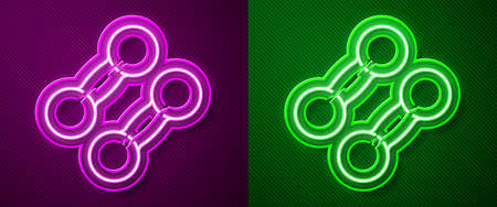 Glowing neon line Dumbbell icon isolated on purple and green background. Muscle lifting icon, fitness barbell, gym, sports equipment, exercise bumbbell. Vector Illustration. 版權商用圖片 - 147921052