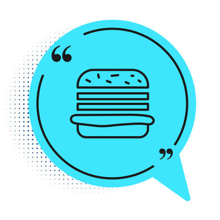 Black line Burger icon isolated on white background. Hamburger icon. Cheeseburger sandwich sign. Fast food menu. Blue speech bubble symbol. Vector Illustration.