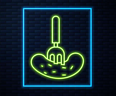 Glowing neon line Pickled cucumber on a fork icon isolated on brick wall background. Vector Illustration.
