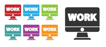 Black Computer monitor with text work icon isolated on white background. Set icons colorful. Vector Illustration.  イラスト・ベクター素材