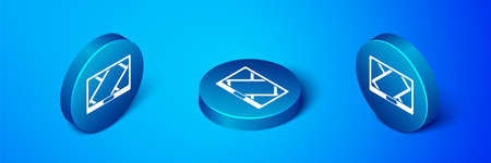 Isometric Gps device with map icon isolated on blue background. Blue circle button. Vector Illustration.