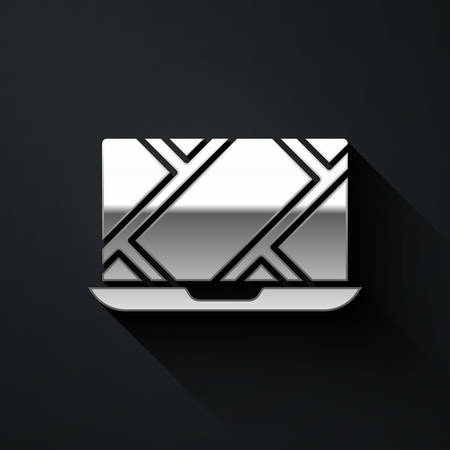 Silver Infographic of city map navigation icon isolated on black background. Laptop App Interface concept design. Geolocation concept. Long shadow style. Vector Illustration. Çizim