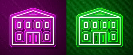 Glowing neon line School building icon isolated on purple and green background. Vector Illustration. Ilustracja