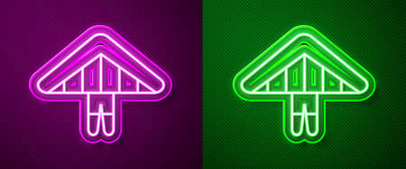 Glowing neon line Hang glider icon isolated on purple and green background. Extreme sport. Vector Illustration.