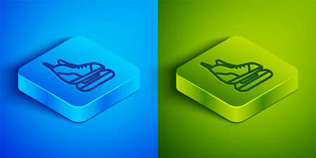 Isometric line Skates icon isolated on blue and green background. Ice skate shoes icon. Sport boots with blades. Square button. Vector Illustration. Imagens - 147920799