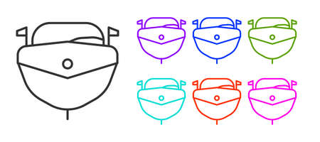 Black line Speedboat icon isolated on white background. Set icons colorful. Vector Illustration. Иллюстрация