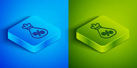 Isometric line Money bag with percent icon isolated on blue and green background. Cash Banking currency sign. Square button. Vector Illustration.