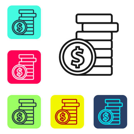 Black line Coin money with dollar symbol icon isolated on white background. Banking currency sign. Cash symbol. Set icons in color square buttons. Vector Illustration. Иллюстрация