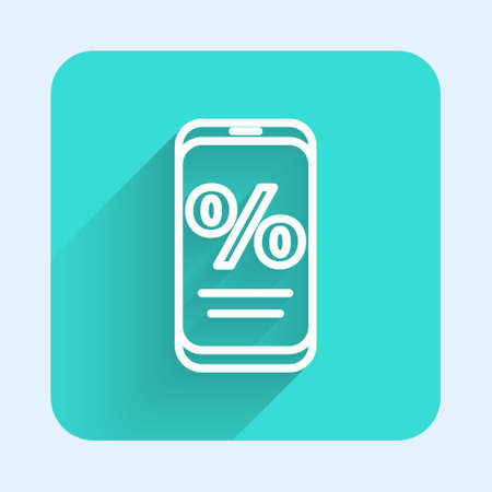 White line Percent discount and mobile phone icon isolated with long shadow. Sale percentage - price label, tag. Green square button. Vector Illustration.
