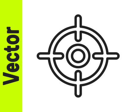 Black line Target sport icon isolated on white background. Clean target with numbers for shooting range or shooting. Vector Illustration.