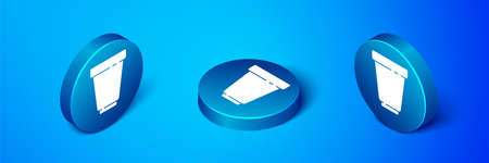 Isometric Water filter cartridge icon isolated on blue background. Blue circle button. Vector Illustration.