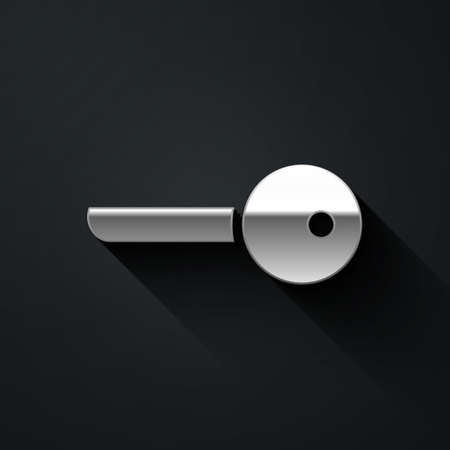 Silver Key icon isolated on black background. Long shadow style. Vector Illustration.