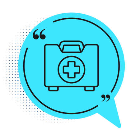 Black line First aid kit icon isolated on white background. Medical box with cross. Medical equipment for emergency. Healthcare concept. Blue speech bubble symbol. Vector Illustration.