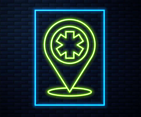 Glowing neon line Medical map pointer with cross hospital icon isolated on brick wall background. Vector Illustration.