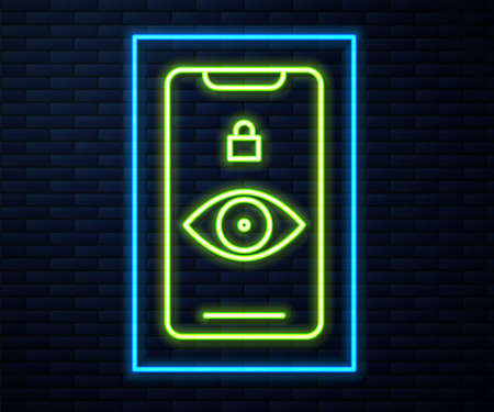 Glowing neon line Eye scan icon isolated on brick wall background. Scanning eye. Security check symbol. Cyber eye sign. Vector Illustration.