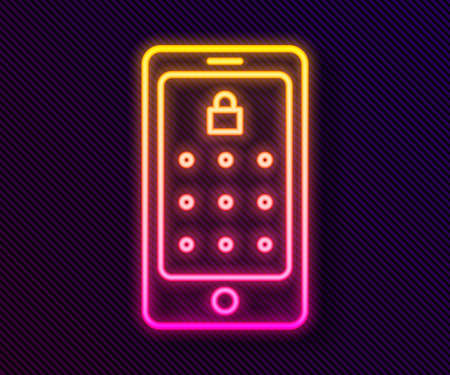 Glowing neon line Mobile phone and graphic password protection icon isolated on black background. Security, personal access, user authorization. Vector Illustration.