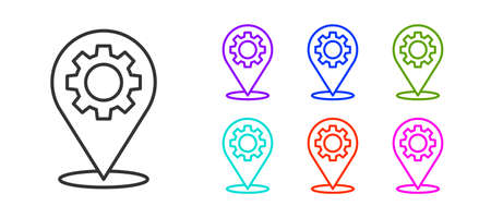 Black line Location with gear icon isolated on white background. Set icons colorful. Vector Illustration.
