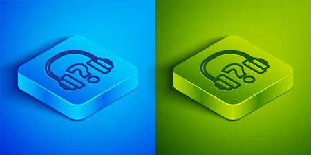 Isometric line Headphones icon isolated on blue and green background. Support customer service, hotline, call center, faq, maintenance. Square button. Vector Illustration.  イラスト・ベクター素材