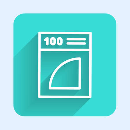 White line Coffee paper filter icon isolated with long shadow. Green square button. Vector Illustration.