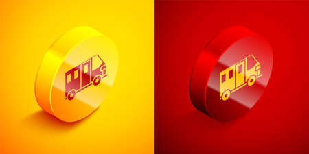 Isometric School Bus icon isolated on orange and red background. Public transportation symbol. Circle button. Vector Illustration
