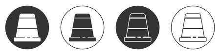Black Thimble for sewing icon isolated on white background. Circle button. Vector Illustration.