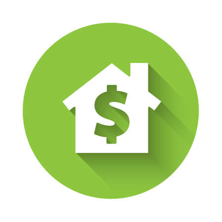 White House with dollar symbol icon isolated with long shadow. Home and money. Real estate concept. Green circle button. Vector Illustration. 일러스트