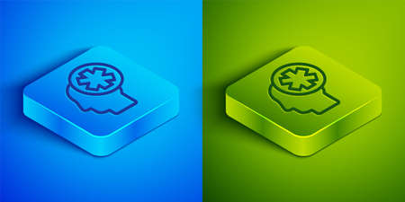 Isometric line Male head with hospital icon isolated on blue and green background. Head with mental health, healthcare and medical sign. Square button. Vector Illustration. Ilustracja