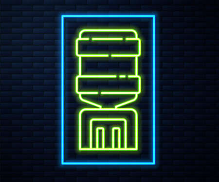 Glowing neon line Water cooler for office and home icon isolated on brick wall background. Water dispenser. Bottle office, plastic and liquid. Vector Illustration.