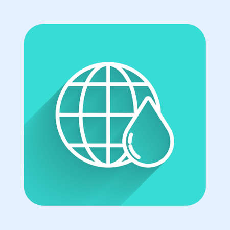 White line Earth planet in water drop icon isolated with long shadow. World globe. Saving water and world environmental protection. Green square button. Vector Illustration. 일러스트